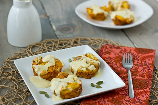 Sweet Potato French Toast Cups with Vanilla Cardamom Creme Anglaise