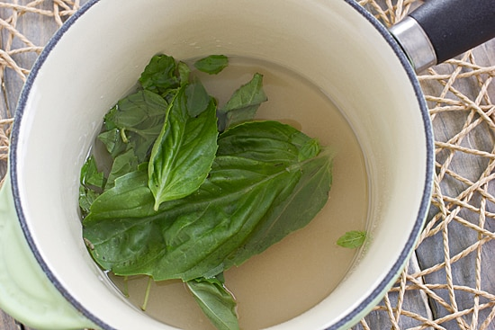 Basil Simple Syrup in Saucepan