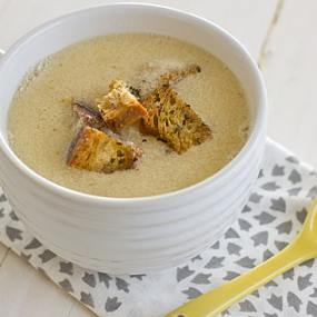 Fresh Corn Soup with Herbed Croutons [angled]