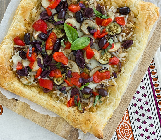 Caramelized Onion & Eggplant Puff Pastry Tart