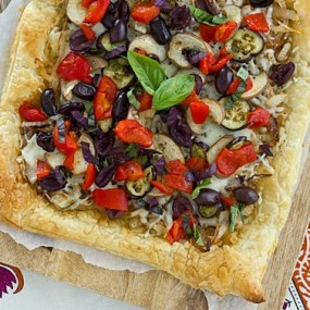 Caramelized Onion & Eggplant Puff Pastry Tart Recipe