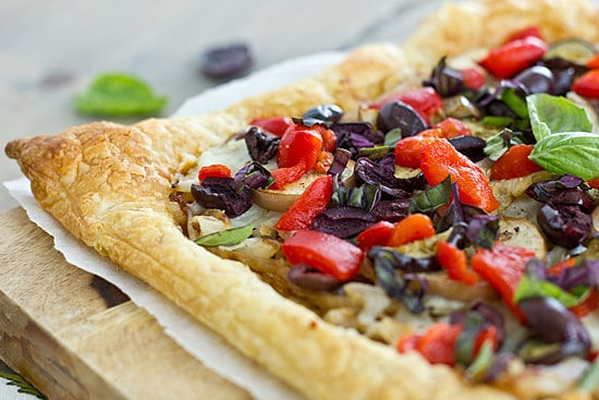 Caramelized Onion & Eggplant Puff Pastry Tart with Kalamata Olives, Roasted Red Peppers & Basil [close]