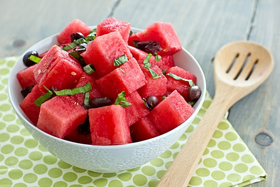 Watermelon with Kalamata Olives & Basil