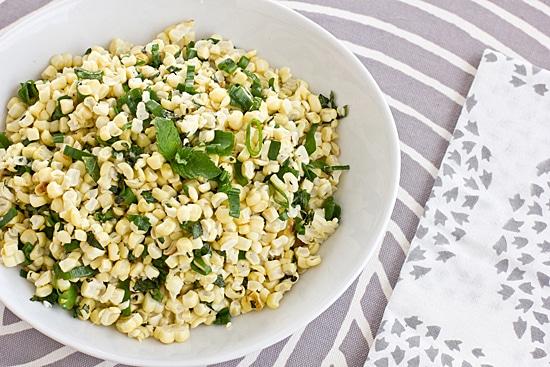 Grilled Corn, Mint & Scallion Salad