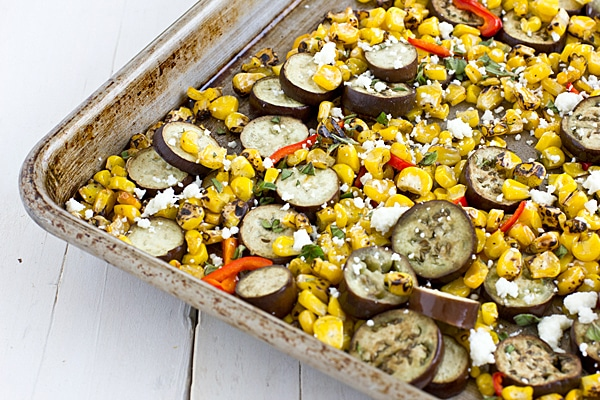 Roasted Eggplant, Corn, & Red Poblano Pepper