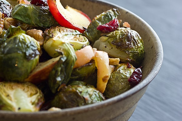 Vegan And Vegetarian Roasted Brussels Sprouts And Apples