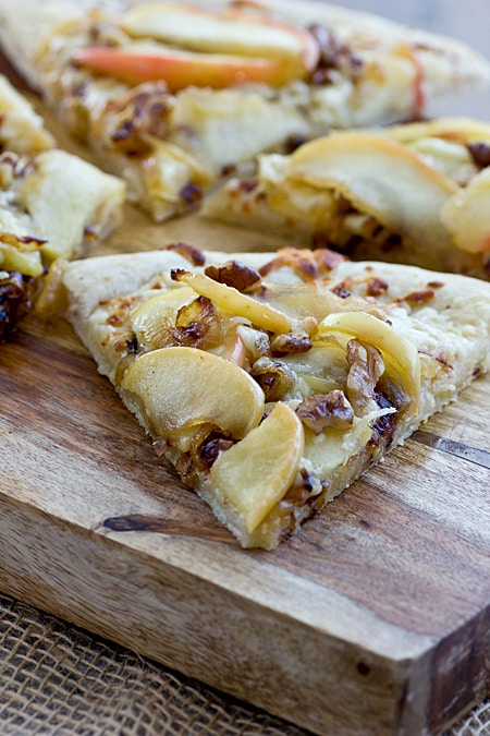 Apple Cheddar Pizza with Caramelized Onions & Walnuts