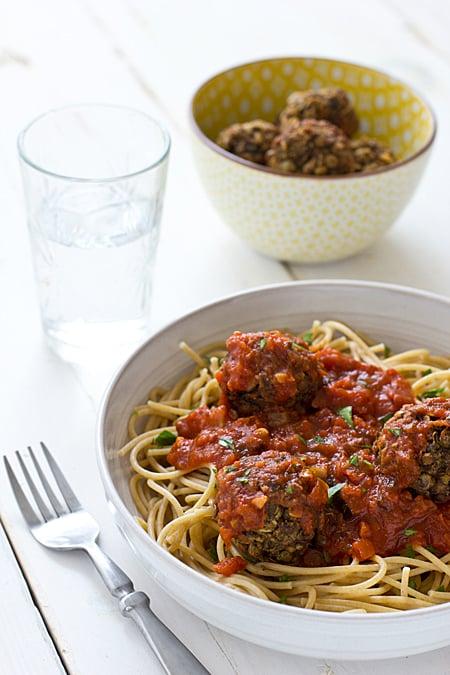 Spaghetti with Lentil Mushroom Meatballs