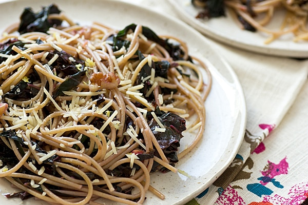 Spaghetti with Mustard Greens & Lemon