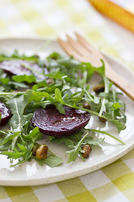 Roasted Beets with Edamame & Arugula