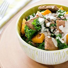 Butternut Squash, Lentil & Kale Salad with Tahini Dressing Recipe