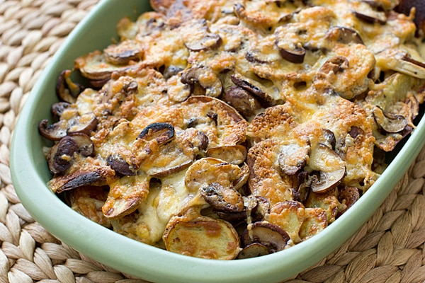 Roasted Mushrooms & Potatoes with Melted Fontina