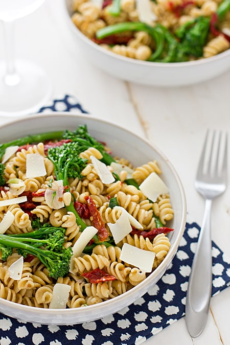 Whole Wheat Rotini with Broccolini & Sun-Dried Tomatoes