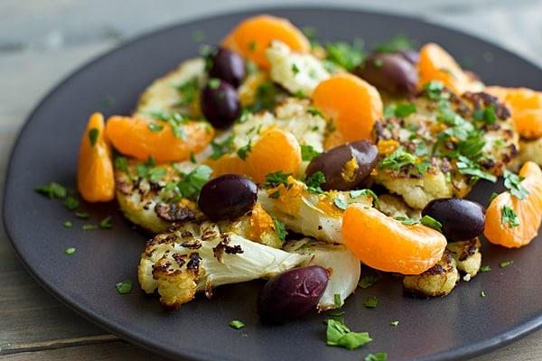 Charred Cauliflower with Clementines & Olives