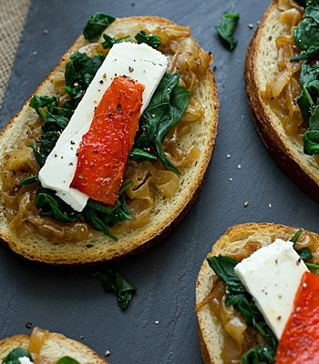 Spinach, Caramelized Onion & Roasted Pepper Open-Faced Sandwiches from Vegetable Literacy