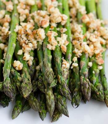 Roasted Asparagus with Lemon-Almond Pesto Recipe