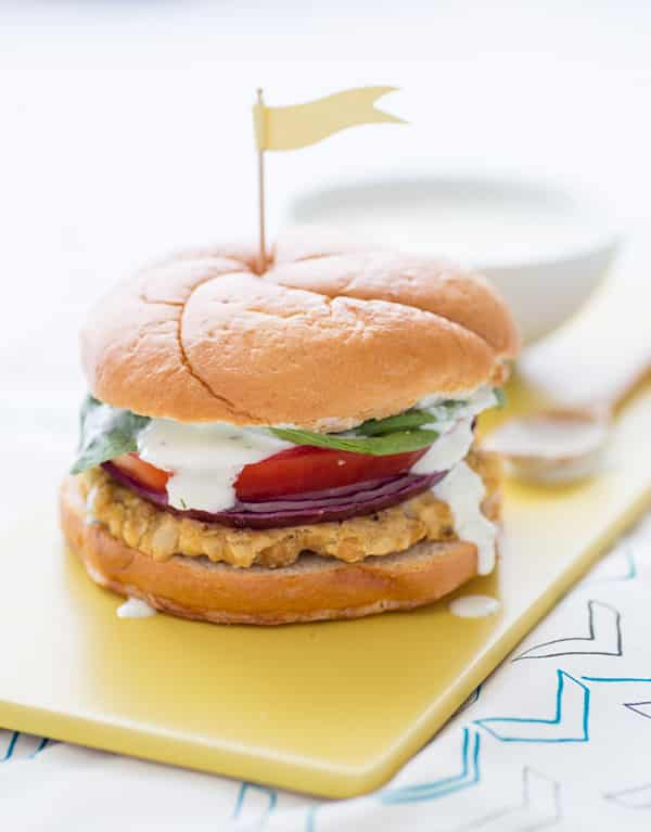 Cauliflower Hummus Burger with Mint Tzatziki