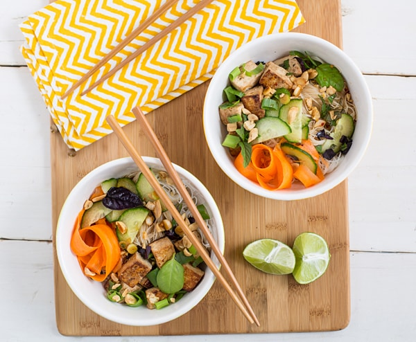Vegan Tofu Rice Noodle Salad