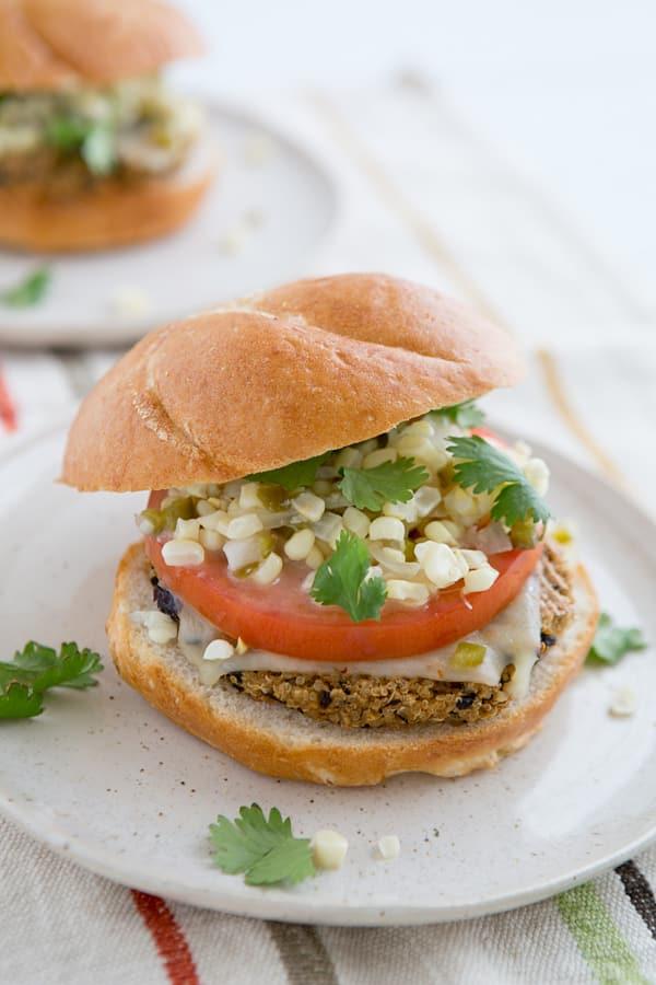 Chipotle Black Bean Quinoa Burgers with Sweet Corn Relish