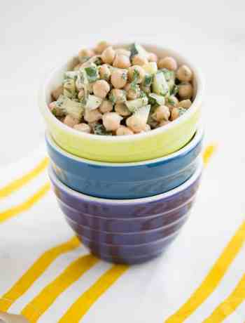 Cucumber Chickpea Salad with Lemony Tahini Dressing