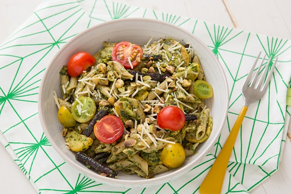 Penne with Pistachio Mint Pesto