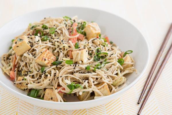 Sesame Soba & Cucumber Noodles with Tofu
