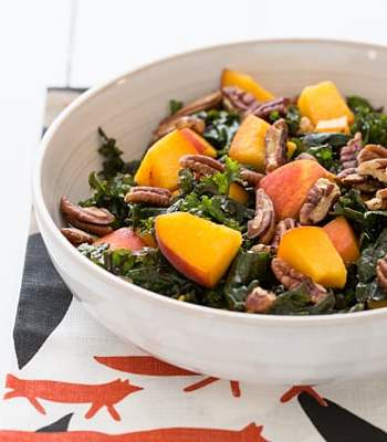 Peach and Kale Salad with Maple Miso Vinaigrette