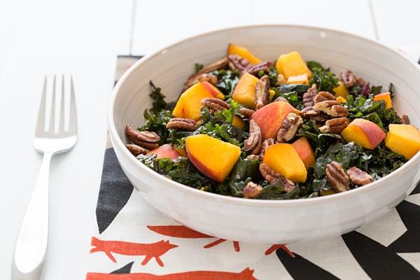 Peach and Kale Salad with Maple Miso Vinaigrette