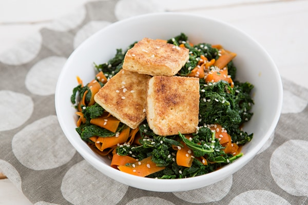 Pan-Fried Tofu and Kale Bowl