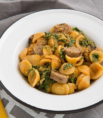 Smoky Butternut Squash Sauce with Pasta & Greens