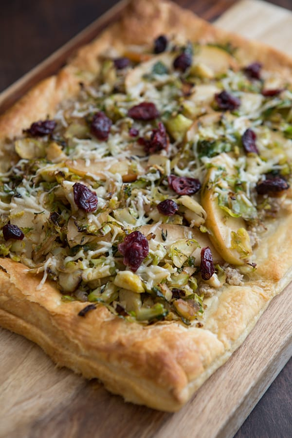 Brussels Sprout and Apple Tart with Walnut Pesto