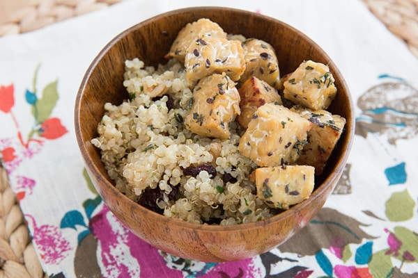 Maple Tempeh with Herbed Quinoa