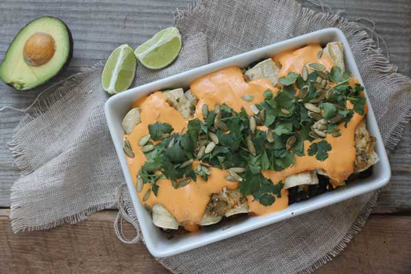 Vegan Black Bean Enchiladas with Roasted Red Pepper Cashew Cream