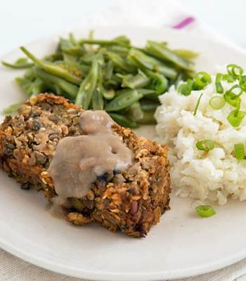 Lentil Loaf + Mashed Cauliflower + Green Beans