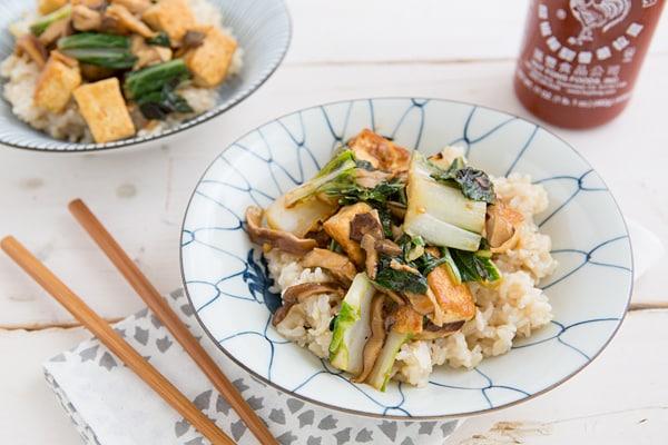 Stir-Fried Shiitake Mushrooms with Tofu and Bok Choy