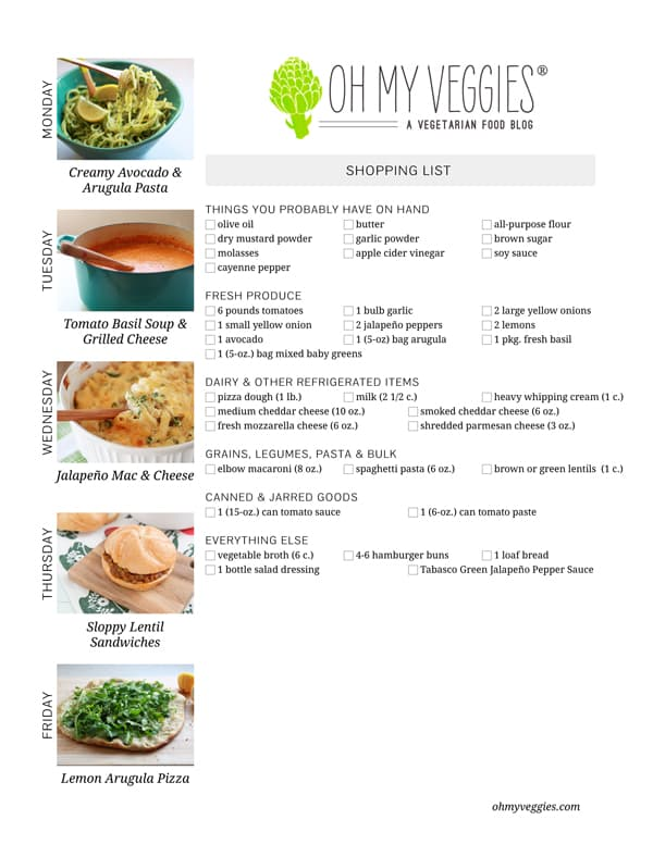 Vegetarian Meal Plan & Shopping List - 02.24.14