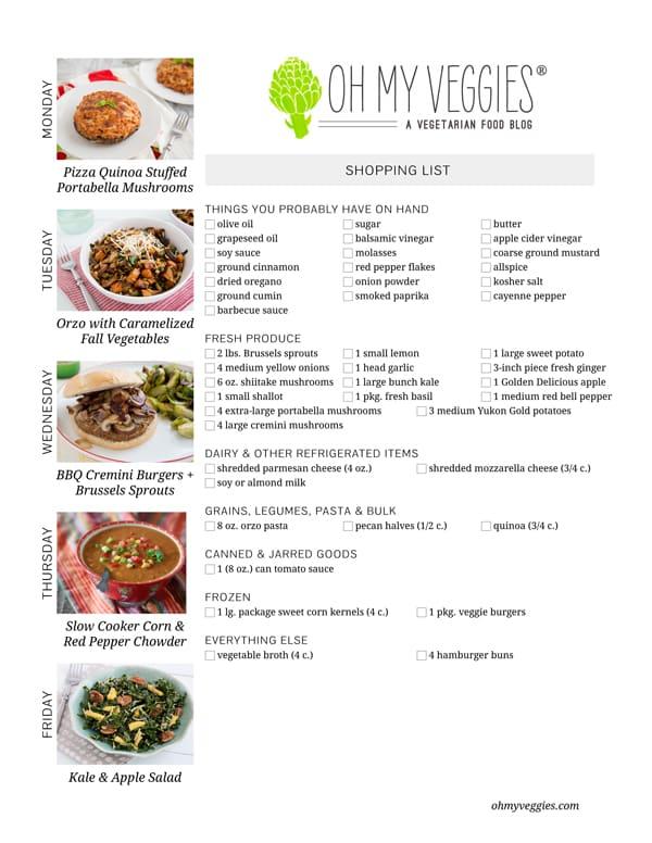 Vegetarian Meal Plan & Shopping List - 03.10.14
