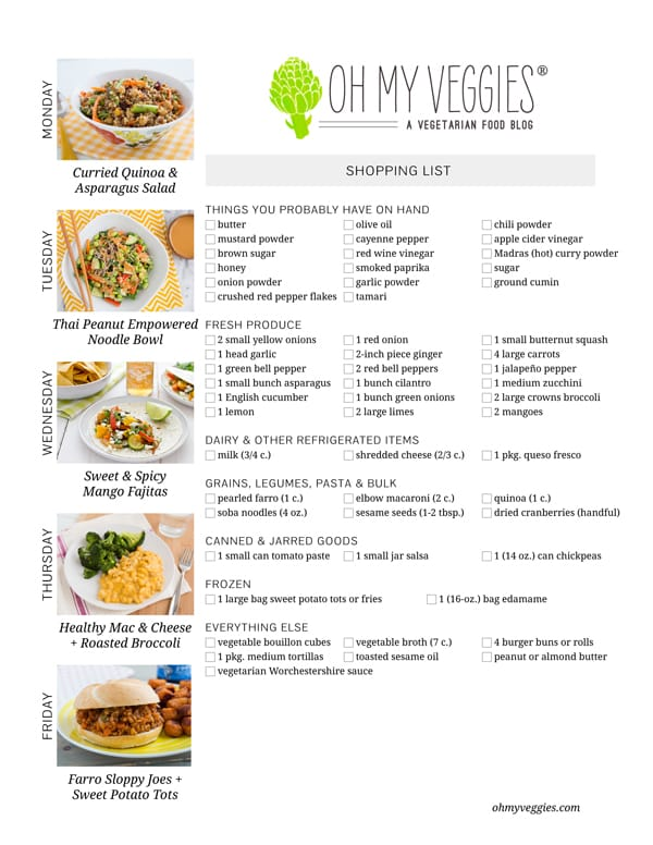 Vegetarian Meal Plan & Shopping List - 03.24.14
