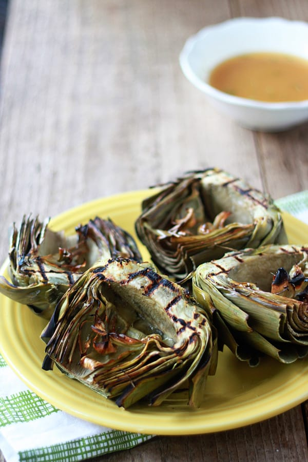 Grilled Artichokes with Roasted Garlic Olive Oil Dip