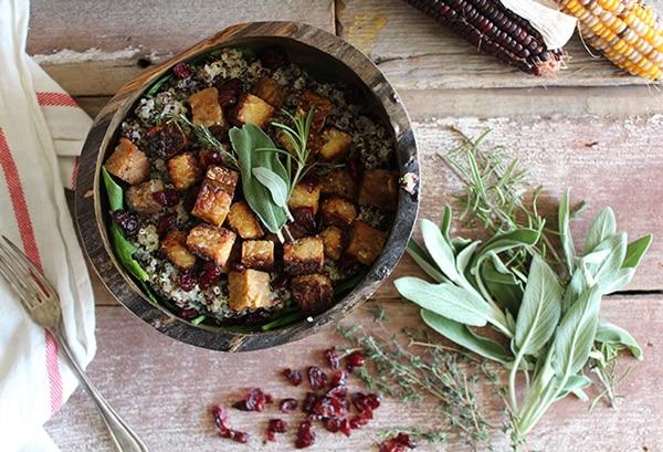 Maple Tempeh with Herbed Quinoa
