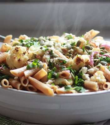 Roasted Cauliflower & Red Onion Pasta