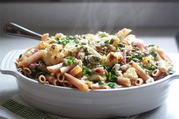 Roasted Cauliflower & Red Onion Pasta