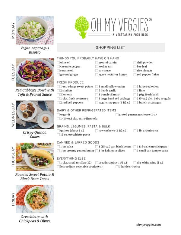 Vegetarian Meal Plan & Shopping List - 04.07.14