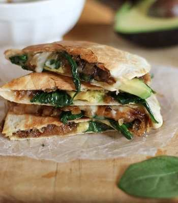 Caramelized Onion, Spinach & Avocado Quesadilla
