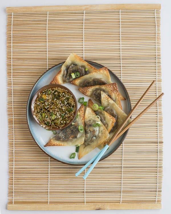 Baked Ginger-Mushroom Wontons with Sesame Dipping Sauce