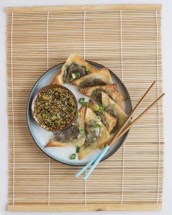 Baked Ginger-Mushroom Wontons with Sesame Dipping Sauce