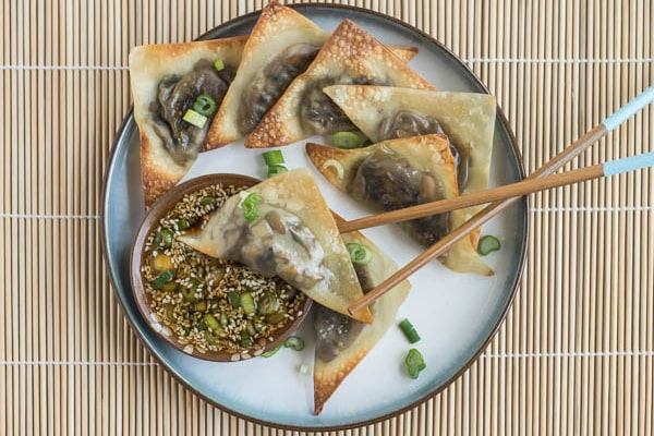 Baked Ginger Mushroom Wontons with Sesame Dipping Sauce