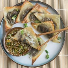Baked Ginger-Mushroom Wontons with Sesame Dipping Sauce Recipe