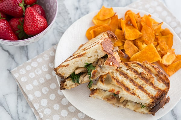 Mushroom and Kale Grilled Cheese
