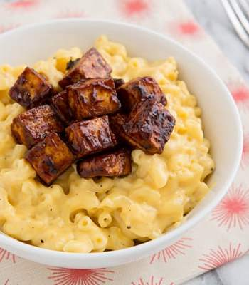 Smoked Cheddar Mac & Cheese with Baked BBQ Tofu Recipe